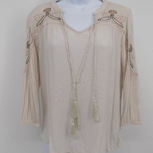 Creme Colored 'Maurices' Boho Beaded Top, Blouse
